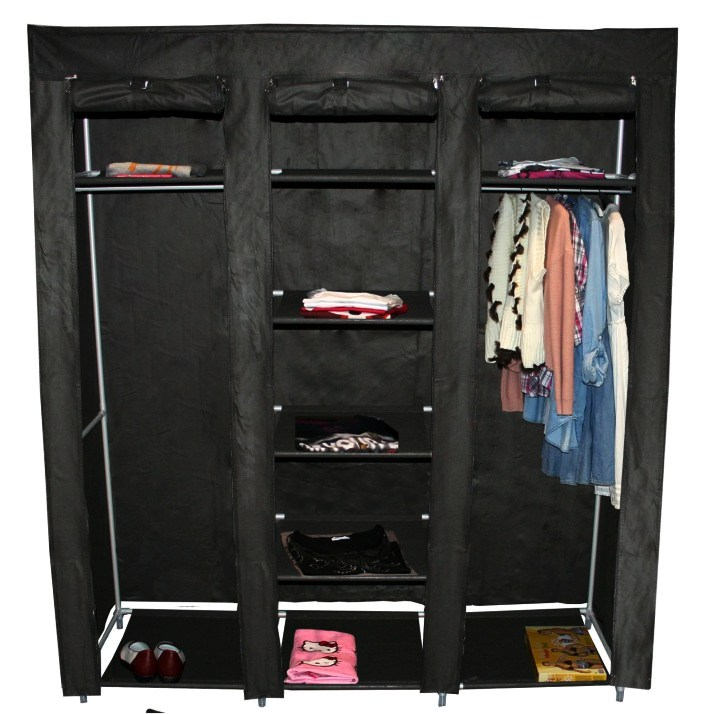 teprovo faltschrank garderobe kleiderschrank 9 b den 150 x 45 x 175 cm schwarz. Black Bedroom Furniture Sets. Home Design Ideas
