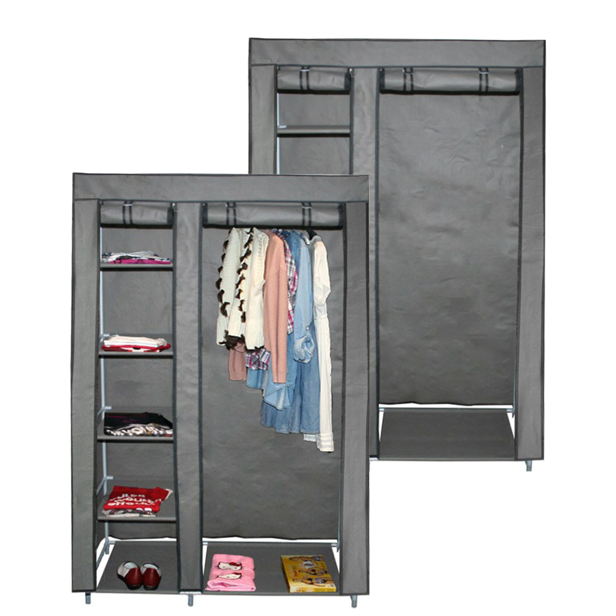 teprovo faltschrank garderobe kleiderschrank 6 b den 110 x 45 x 175 cm grau. Black Bedroom Furniture Sets. Home Design Ideas