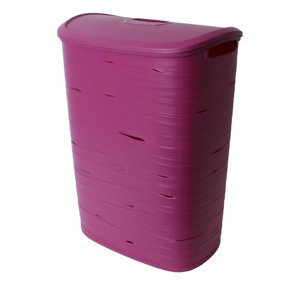 curver plastique panier linge panier linge avec couvercle 49l ovale mauve ebay. Black Bedroom Furniture Sets. Home Design Ideas