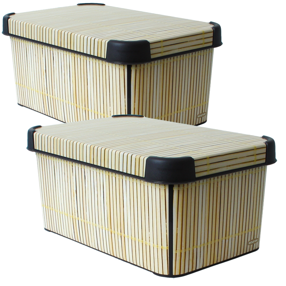 2 st ck curver box storage box container with lid bamboo design ebay. Black Bedroom Furniture Sets. Home Design Ideas